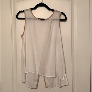 White Ella moss tank with camel colored piping